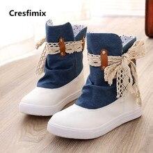 Cresfimix botas femininas moda feminina confortável bow tie denim botas senhora botas legal sapatos de rua ocasional luz azul c2847