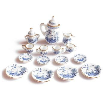 Gran oferta, vajilla de comedor 1/12, juego de té de cerámica China, casa de muñecas, miniaturas, flor azul