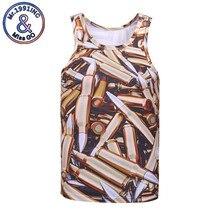 font b Men s b font Summer 3D Tank Tops Print Bullet O neck Vest