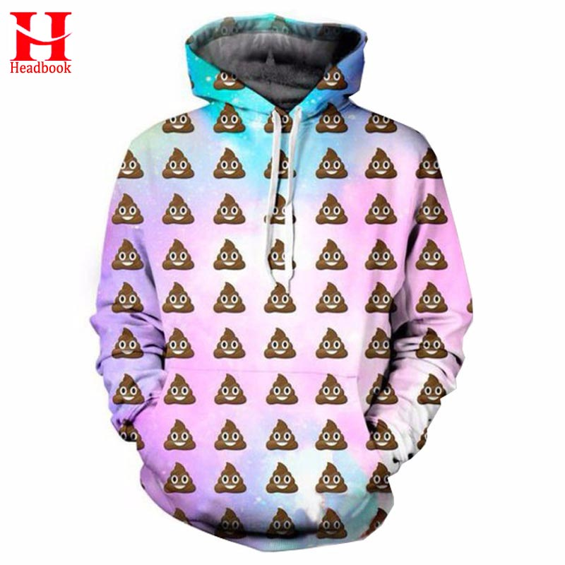 2017 Headbook Space Galaxy Hoodies Men/Women Hooded Hoodies 3d Sweatshirt Funny Print Lovely Emoji Hoody Tracksuits Tops Pullove