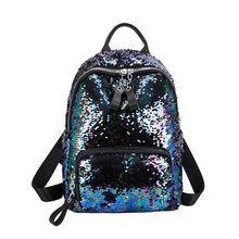 Women Girls Sequins Backpack Glitter Casual Daypack School Travel Rucksack Shoulder Bag