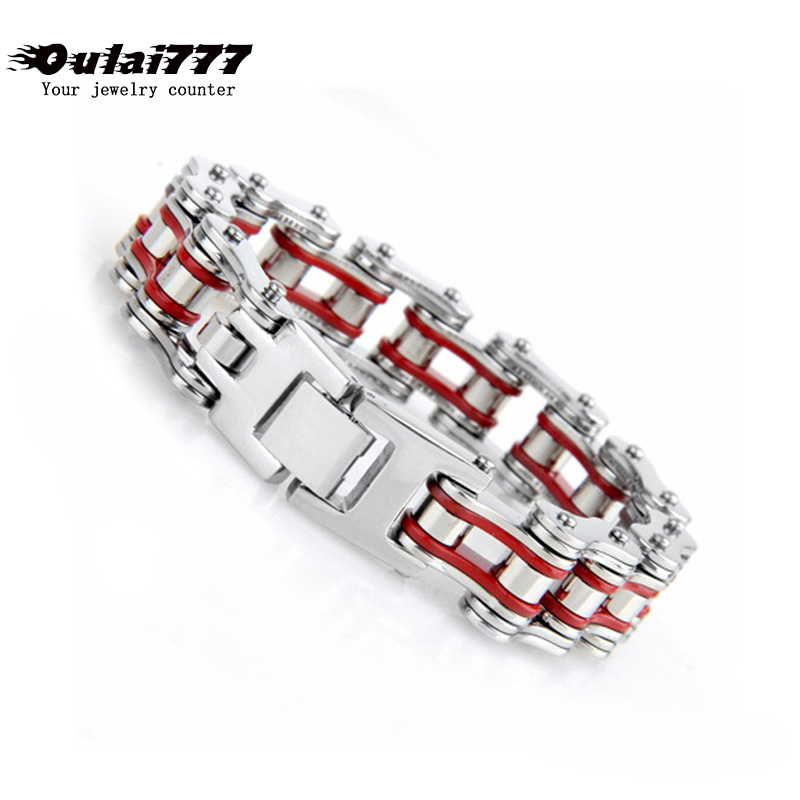 Stainless Steel Red Bicycle Chain Men Bracelet Big Mens Accessories Male Punk Personalized Charm Hand Friendship Bracelets