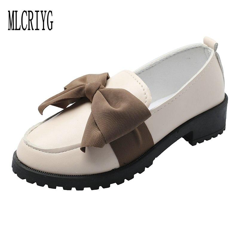 9963f2b37e6 Detail Feedback Questions about Size 34 40 2019 New Women Big Bowtie Pumps  Low Heels Martin Oxford PU Rain Shoes Woman Super Cute Black Footwear for  Girls ...
