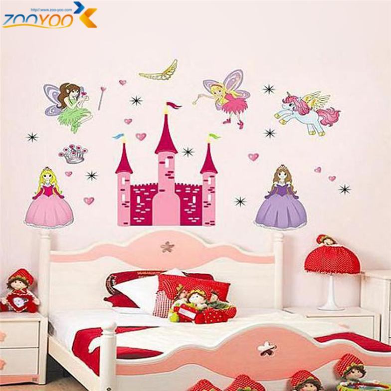 princess castle heart horse angel wall stickers for kids room girls rh aliexpress com Living Wall Stickers Living Wall Stickers