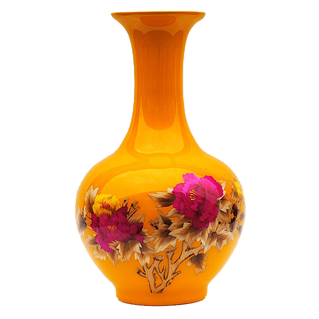 Jingdezhen Hongxuan Ceramics Glaze Vase Chinese Peony Straw Yellow
