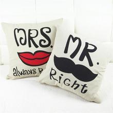 New Mr / Mrs Valentine seat Cushions Decorative Home Decor Sofa Throw Pillows Decorate Moustache Pillow Cushion 43*43cm