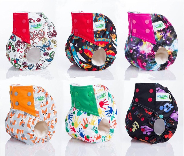 Cotton Washable  Adjustable Cartoon Images Baby Cloth Diapers Breathable  Comfortable Baby Nappies Diaper  1pcs