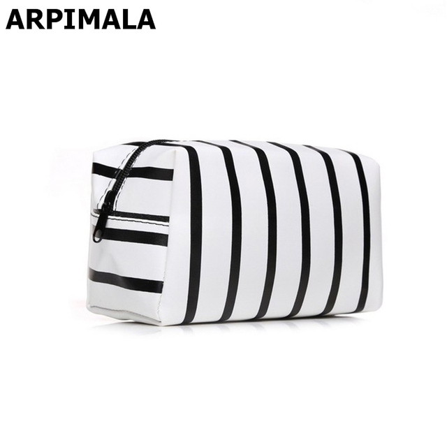 f3d14b115269 US $5.55 40% OFF|ARPIMALA 2018 PU Leather Cosmetic Bag Small Stripe Makeup  Bag Black Gold Toiletry Bag Women Travel Organizer Make Up Vanity Case-in  ...