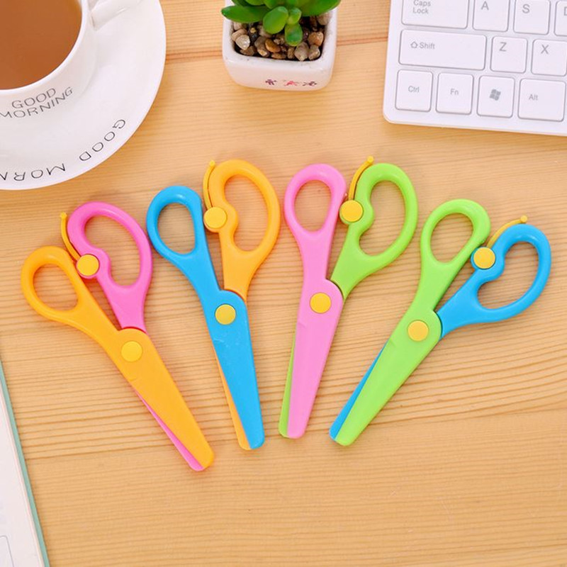 Coloffice 1PC Colorful Creative Stretch Hand Cut Paper Scissors DIY Round Small Plastic Scissors Student Office School Supplies