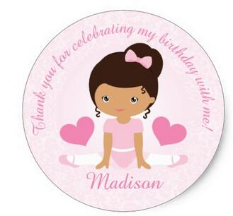 US $20.0 |1.5inch Thank You Ballerina Birthday Party Party Custom Classic Round Sticker in Stationery Stickers from Office & School Supplies on