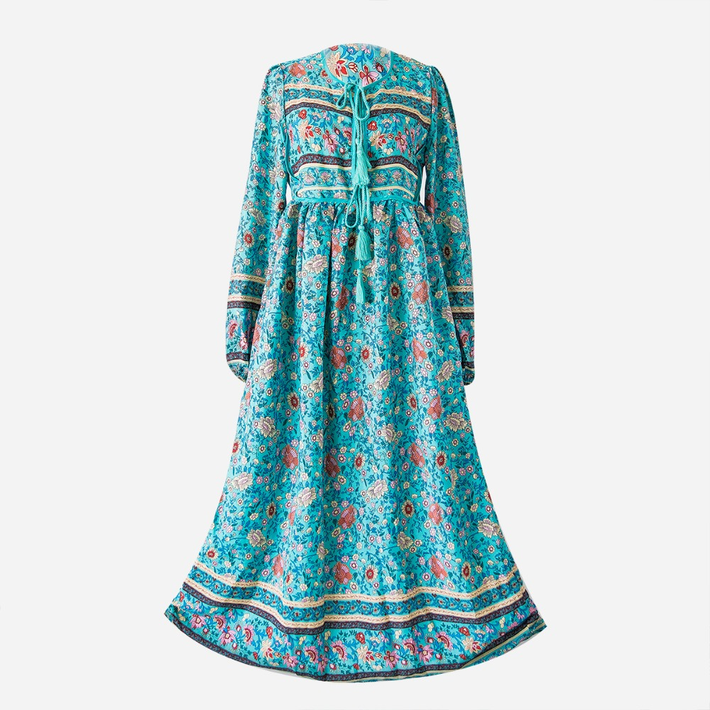 Bohemia Long Dress Women Mid-Calf Print Folk Dress V neck Tassel Empire High Waist Dresses Beach Wear Plus Size S-5XL D74303