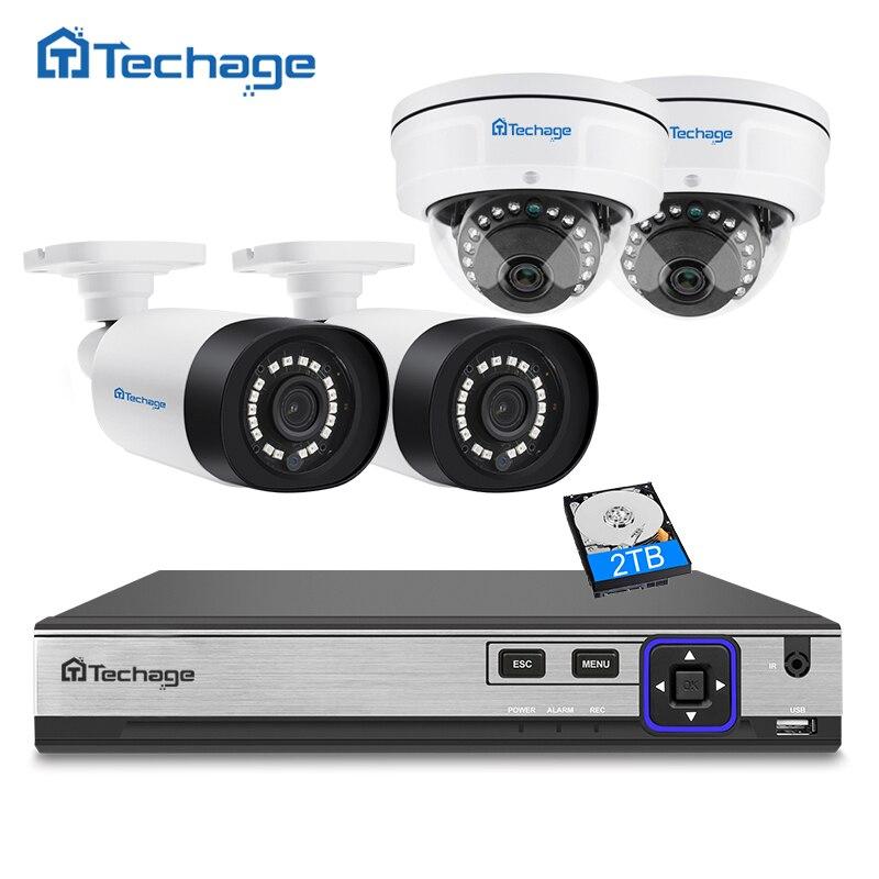 Techage H.265 4CH 4MP POE NVR CCTV Système Intérieur Extérieur Dôme Anti-Vandalisme PoE IP Caméra P2P Vidéo Système de Surveillance de Sécurité