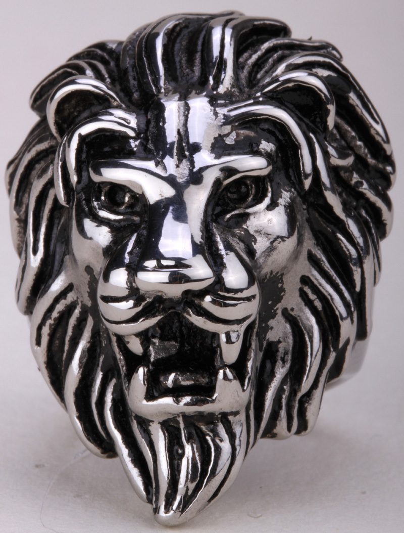 Lion ring for men kids stainless steel 316L biker punk rock party jewelry big animal charm antique silver tone SR03 fashion 2015