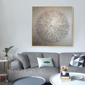 Image 5 - Artista de la pintura al óleo especial pintado a mano, cuchillo de plata de alta calidad, pintura al óleo gruesa, pintura al óleo moderna abstracta de plata gris