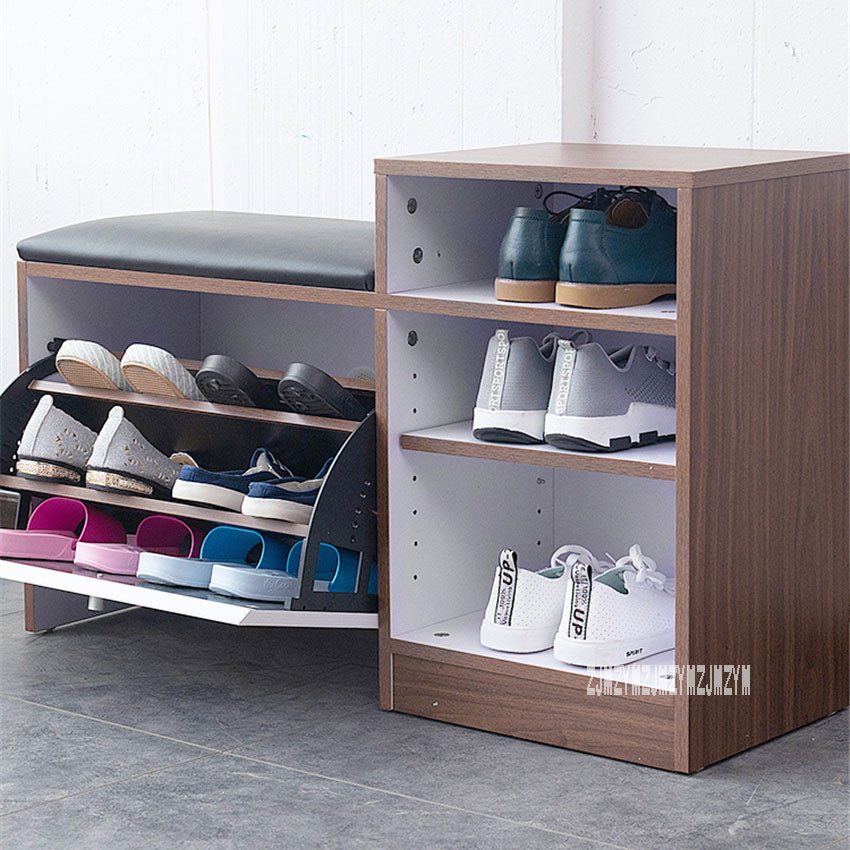 X211-Y1 Living Room Wear Shoes Storage Stool PU Leather Cushion Change Shoe Bench Organizer Sofa Footstool With Shoe Cabinet