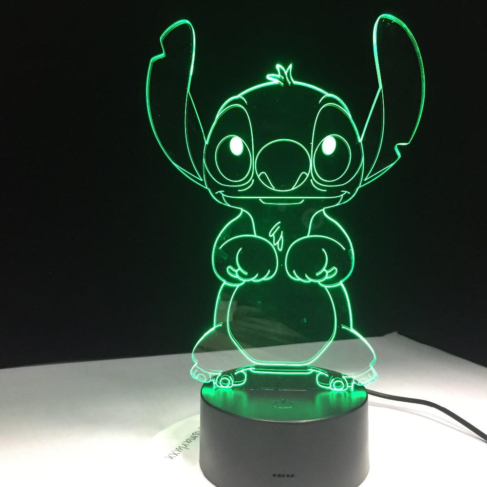 Stitch Cartoon 3D Lamp Bedroom Table Night Light Acrylic Panel USB Cable 7 Colors Change Touch Base Lamp Kids Gift 3D-812