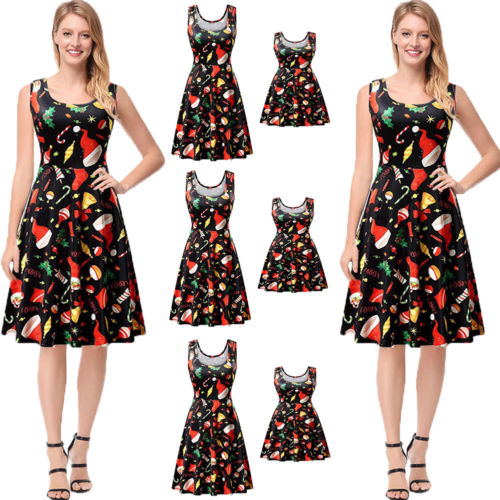 Hot Xmas Sleeveless Dress Family Match Dress Mother Daughter Matching  Floral Women Girl Christmas Party Short Maxi Dress 70d6fe49d178