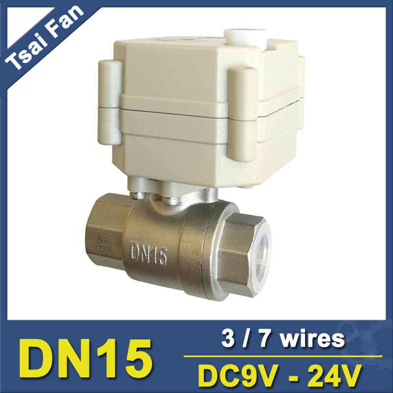 TF15-S2-B DC9V-24V 3/7 Wires DN15 Motorised Valve SS304 1/2'' Electric Shut Off Valve With Indicator And Manual Override tf15 s2 b dn15 stainless steel normal close open valve 2 5 wires bsp npt 1 2 ac dc9v 24v electric water valve