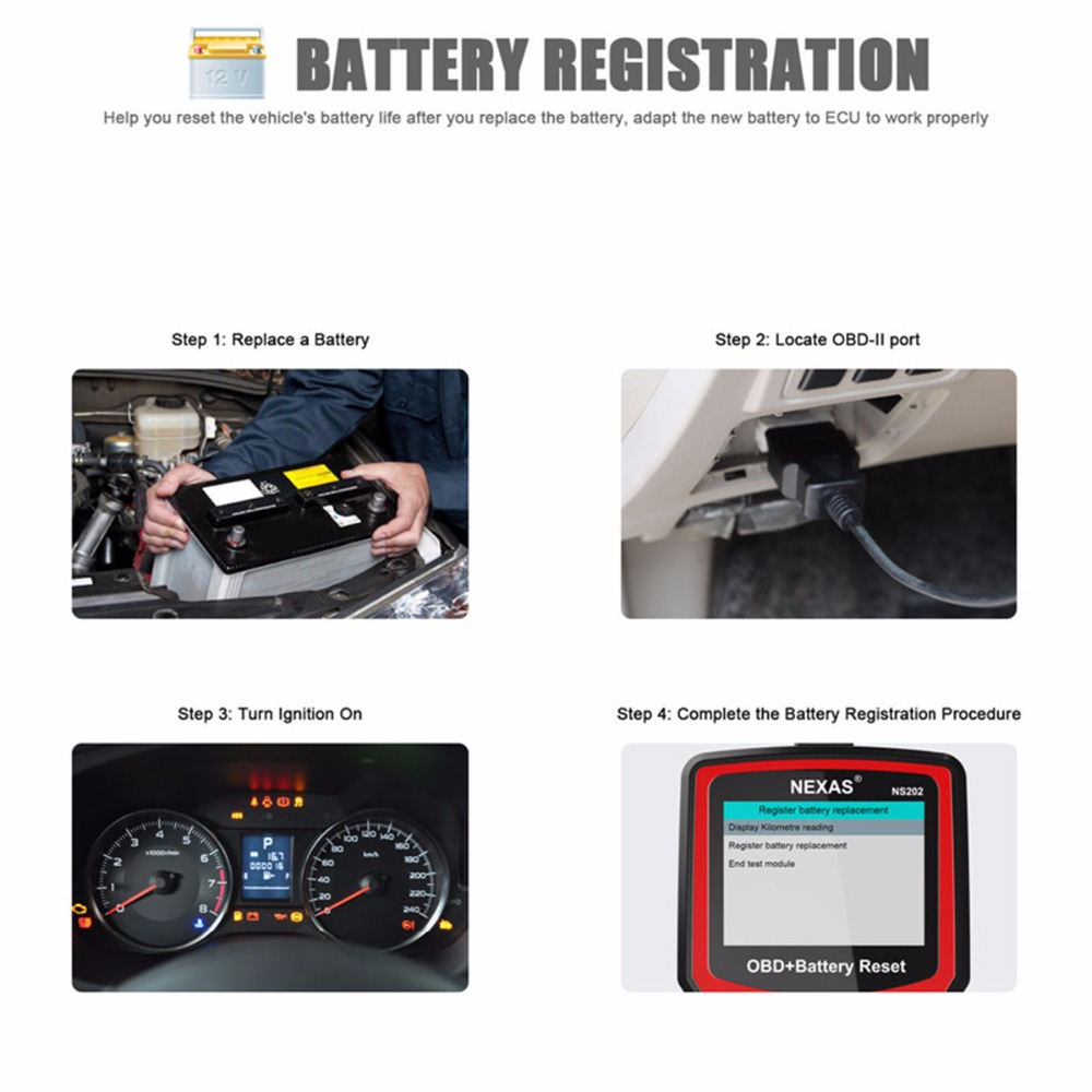 US $95 24 |Nexas NS202 OBD EOBD OBD2 Diagnostic Tool Battery Reset SAS  Battery Check Steering Angle Reset Auto Car Scanner Code Reader-in Code  Readers