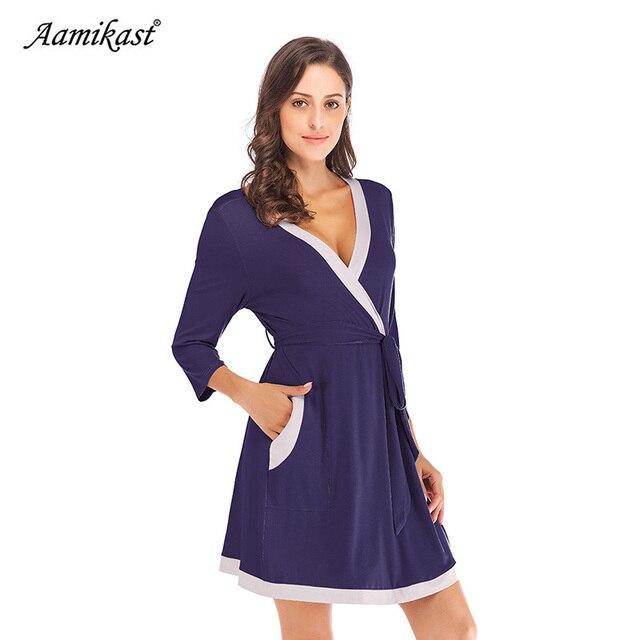 39dbd39f24804 Aamikast Autumn Winter Womens Maternity Pregnancy Labor Robe Delivery  Nursing Nightgowns Hospital Breastfeeding Gown S-XXL