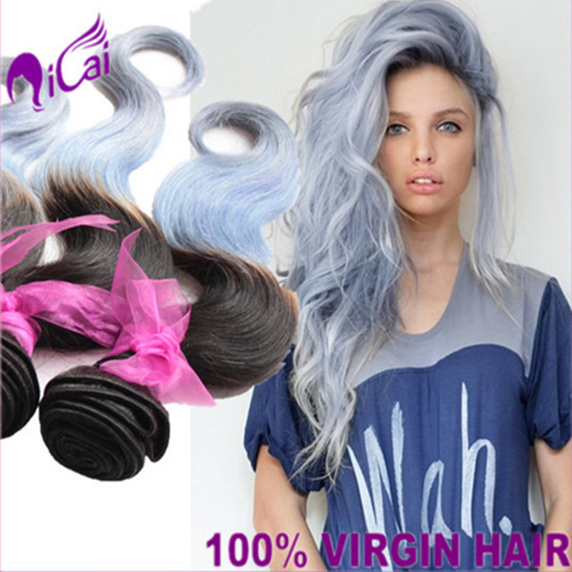 Ombre 2 Tone 1b Ice Blue Hair Weave 7a Brazilian Virgin Remy Human