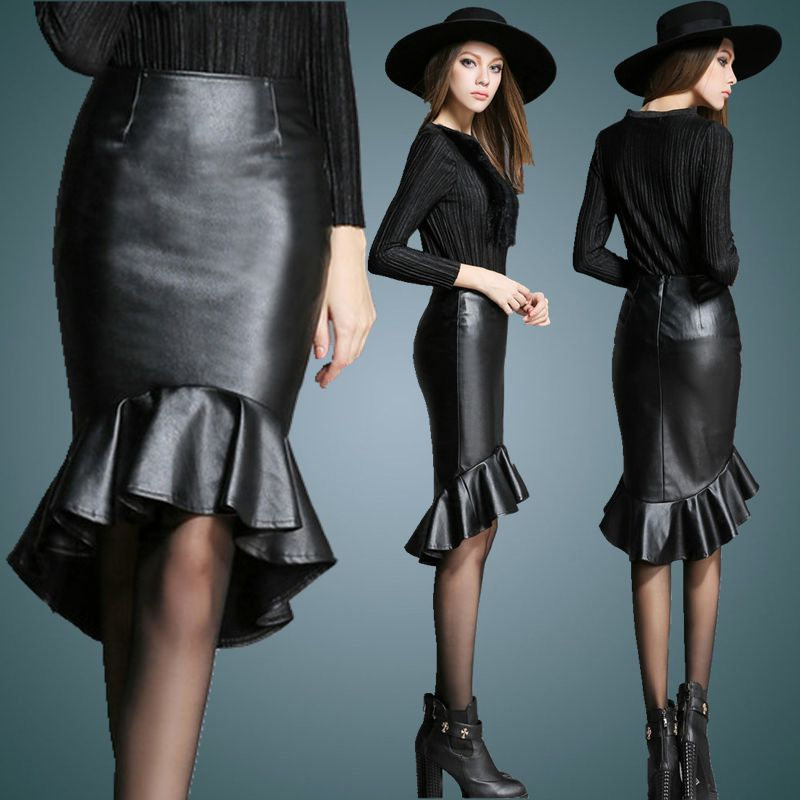 2016 Spring New Fashion Customize Women Plus Size 3XS-10XL Black/Wine Red Leather Skirt Ladies High Low Mermaid Fishtail Skirts