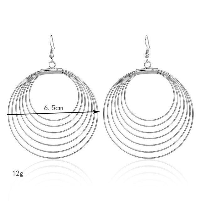 Lzhlq многослойные проволочные большие круглые серьги геометрические