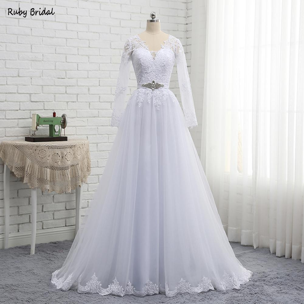 2019 New Arrival Floor Length Vestidos De Noiva A line Wedding Dresses Long Sleeves Cheap Wedding
