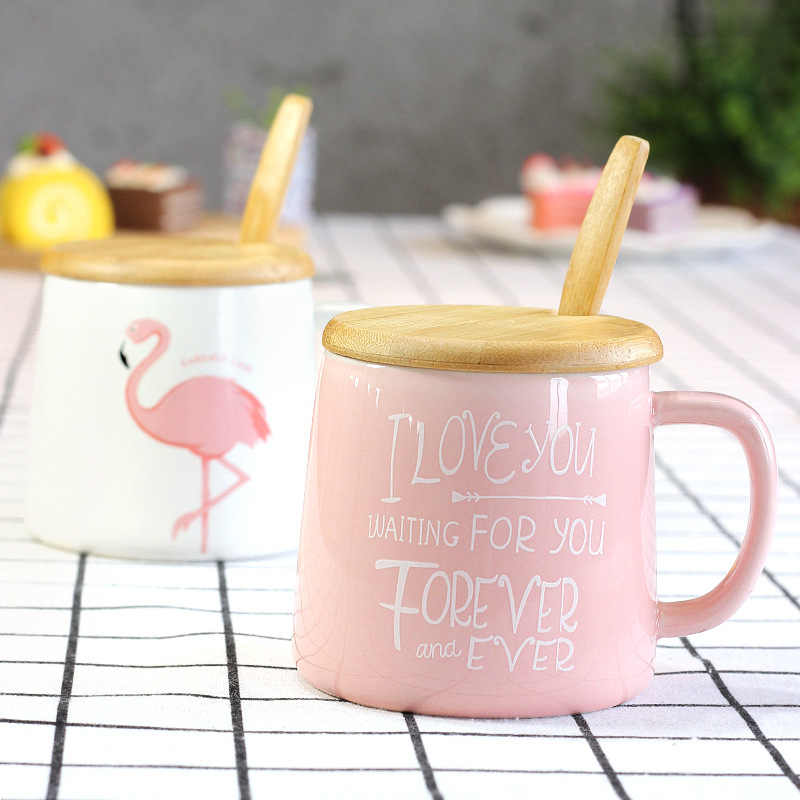 Flamingo Milk Mug with Lid Spoon Cute Ceramic Creative Coffee Mugs Porcelain Tea Cup Home Office Drinkware Gifts H1035
