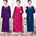 Yomrzl A276 2016 novo inverno chegada camisola das mulheres Plus Size solto vestido de veludo de manga comprida sono sleepwear real