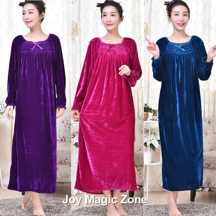 8e804b81fd4f yomrzl A276 2016 new arrival winter women s nightgown Plus size loose  velvet long sleeve sleep dress royal sleepwear-in Nightgowns   Sleepshirts  from ...