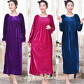 yomrzl A276 2016 new arrival winter women's nightgown Plus size loose velvet long sleeve sleep dress royal sleepwear