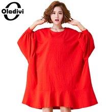 Oladivi Oversized Plus Size Women Clothing Casual Loose Shirt Dress 2017 Autumn New Female Top Tee Dresses Ladies Tunic Vestidos