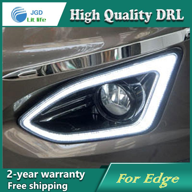 Free Shipping 12v 6000k Led Drl Daytime Running Light Case For Ford Edge 2015 2016 Fog Lamp