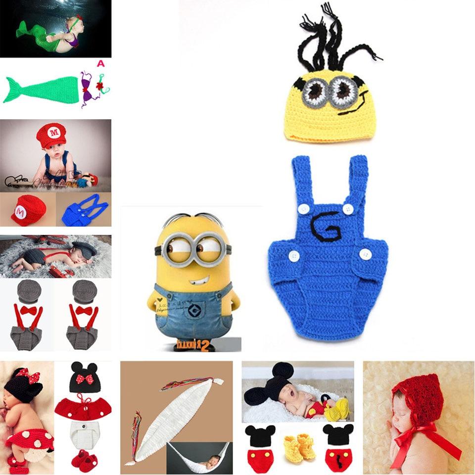 Moeble Crochet Minions Hat Suspender Pants Set Handmade Infant Baby Photo Costume Crochet Newborn Baby Photo props accessories Car phone