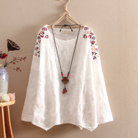 Cotton Linen Shirts women spring elegant Long sleeve Floral O Neck Tops Shirts high quality Vintage embroidery Shirts women