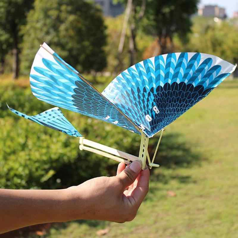 Kids Blue Kite Outdoor Toys Kite Flying Kids Toys for Children Interactive Toy Cartoon Rubber Band Power Flying Bird Kites