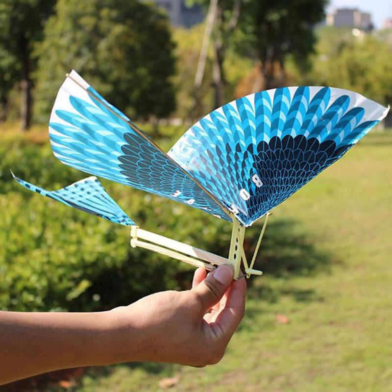 Kids Blue Kite Outdoor Toys Kite Flying Kids Toys For Children Interactive Toy Cartoon Rubber Band Power Flying Bird Kites