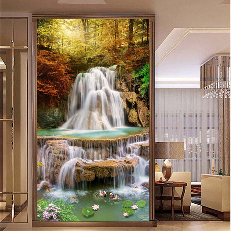 5D Diamond Painting China Style Landscape Waterfall Diamond Embroidery Kit DIY Stone Cross Stitch Entrance Living