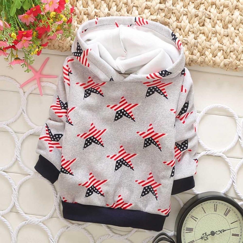 Autumn Winter Children Clothing Baby Babi Kids Boys Fleece Long Sleeve Hooded Sweatshirts Outwear Coats S1857