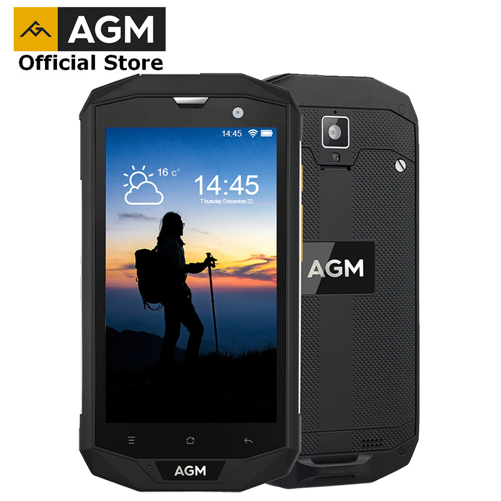 "OFFICIAL AGM A8 5""4G+64G FDD LTE Android 7.1 Mobile Phone 2SIM IP68 Rugged Phone Quad Core 13.0MP 4050mAh NEW NFC OTG Smartphone-in Cellphones from Cellphones & Telecommunications"