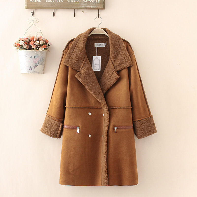 Winter Woman Shearling Coats Faux Suede Leather Jackets Plus Size Loose Coat Medium Long Faux Lambs
