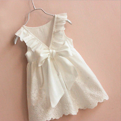 Cute Kids Baby Girls Lace Dress Princess Party Bow Pageant Wedding Sundress Dresses 2-8T toddler kids baby girls princess dress party pageant wedding dresses with waistband