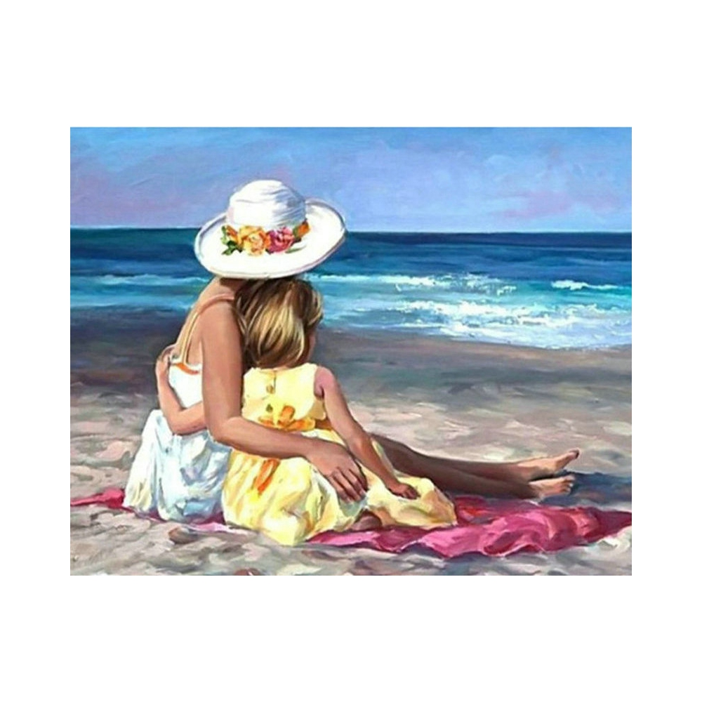 Diamond Embroidery Beach mother and son Diamond Painting Cross Stitch Suite 5D DIY Full square, round Mosaic Decoration BV685