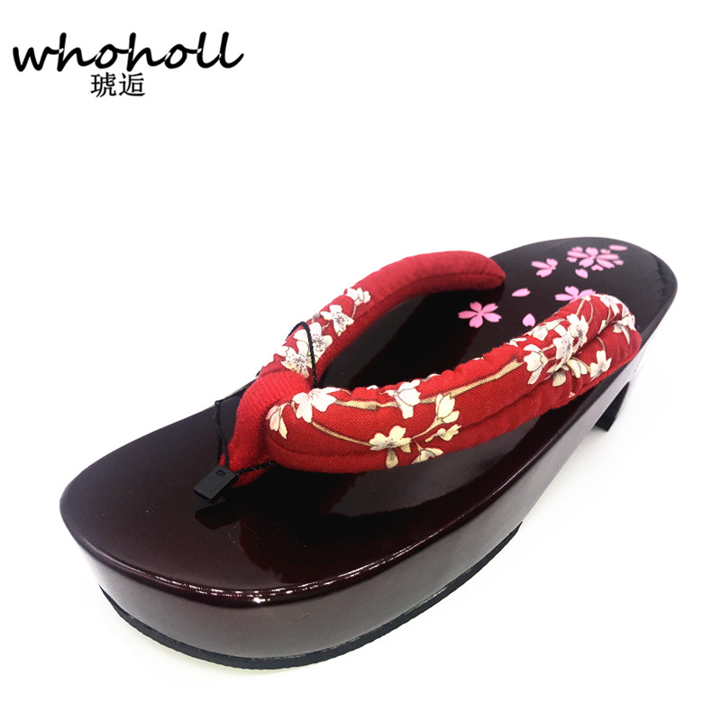 WHOHOLL Women sandals flip-flops 2018 summer wedge sandals Cosplay shoes Japanese Geta clogs wooden red slippers WMGT-578 цены