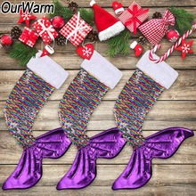 OurWarm Christmas Stocking Big Sequin Shining Mermaid Dog Paw Socks Kids Party Decoration New Year Gifts 2019 60x45cm