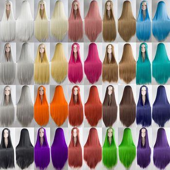 HSIU 2017 NIEUWE 100 cm Lange Pruiken hoge temperatuur fiber Synthetische Pruiken Kostuum Cosplay Pruiken Party Pruiken 20 kleur