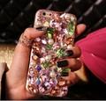 Para iphone 7 7 plus 6 6 splus luxo que bling caso de diamante de cristal colorido tampa do pc de volta para samsung galaxy s7 s6 edge note 5 4 3