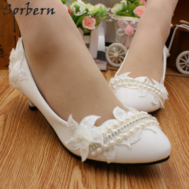 Sorbern Mature White Bridal Shoes Flowers Crystal Med Heels Pumps Women  Wedding Shoes Beading Slip On 3 5 8Cm Pump High Heels e9a378eb1f17