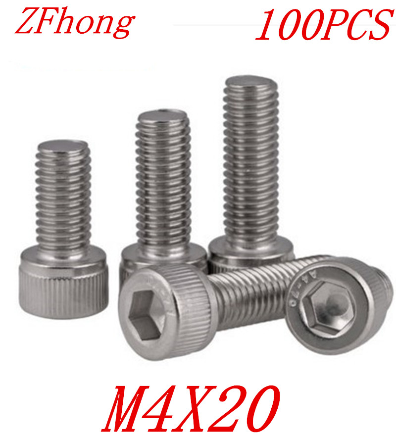 <font><b>100PCS</b></font> A2-70 DIN912 m4*<font><b>20</b></font> m4 x <font><b>20</b></font> stainless steel 304 hex socket cap head screw image